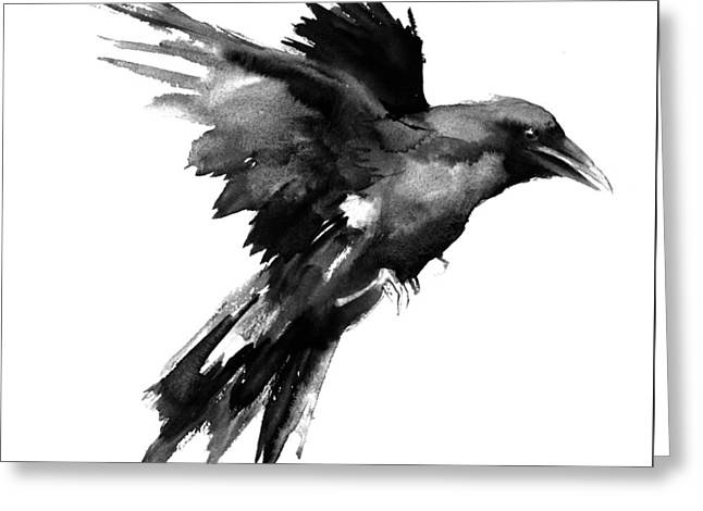 Flying Raven Greeting Card by Suren Nersisyan