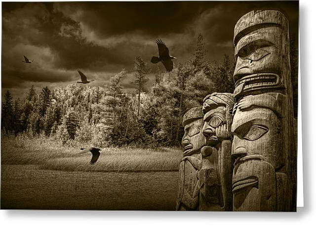 Aborigine Greeting Cards - Flying Ravens and Totem Poles in Sepia Tone Greeting Card by Randall Nyhof