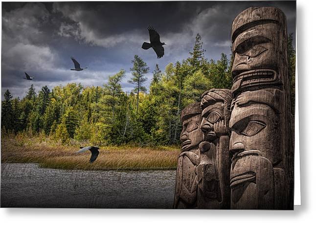 Flying Ravens And Totem Poles In The Wilderness Greeting Card by Randall Nyhof