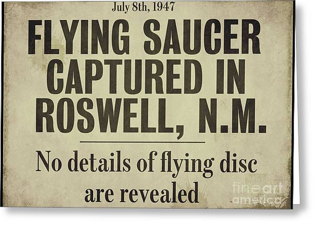 Headline Greeting Cards - Flying Saucer Roswell Newspaper Greeting Card by Mindy Sommers