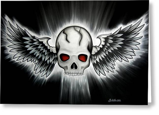 Winged Pastels Greeting Cards - Flying Skull Greeting Card by Edith Ann Cantu