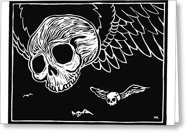 Gorey Greeting Cards - Flying Skulls Greeting Card by Henry Krauzyk
