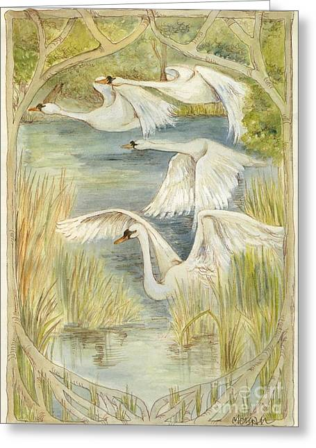 Flying Animal Mixed Media Greeting Cards - Flying Swans Greeting Card by Morgan Fitzsimons
