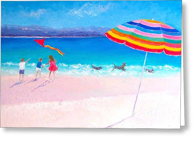 Dog Beach Print Greeting Cards - Flying the Kite Greeting Card by Jan Matson