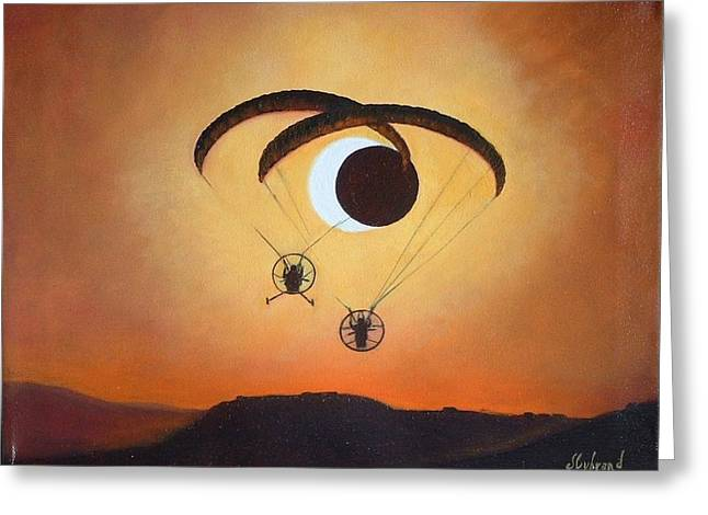 Solar Eclipse Paintings Greeting Cards - Flying the Solar Eclipse 2012 Greeting Card by Judy Lybrand