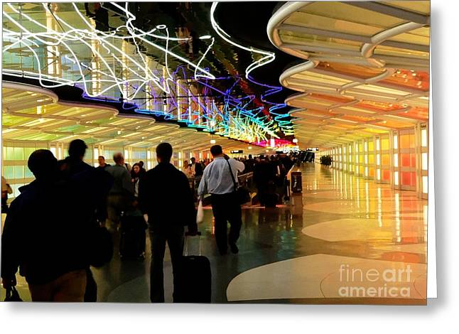 Airport Concourse Greeting Cards - Flying Through O R D Greeting Card by David Bearden