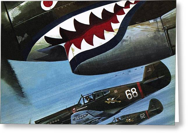 Flying Tigers Over Asia Greeting Card by Wilf Hardy