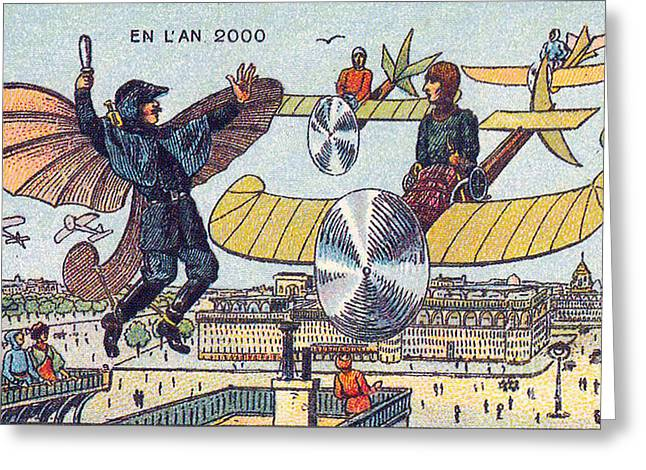 Traffic Control Greeting Cards - Flying Traffic Control, 1900s French Greeting Card by Science Source