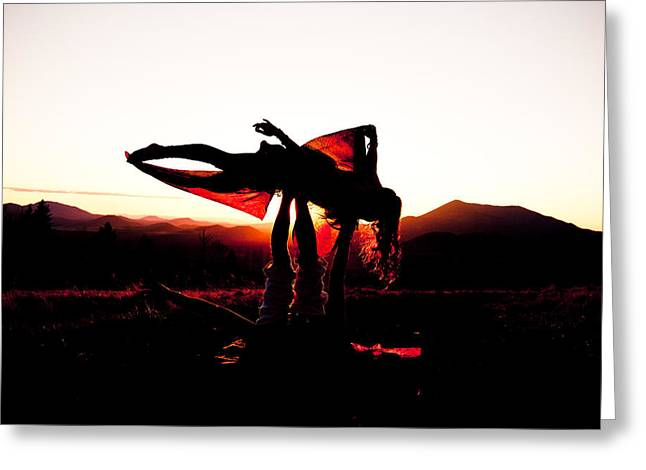 Transparent Fabric Greeting Cards - Flying Yoga Greeting Card by Scott Sawyer
