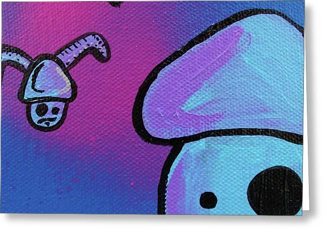 Flying Zombie Mushroom Attack Greeting Card by Jera Sky