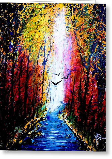 Famous Fish Abstract Greeting Cards - Flyinh High Over Kalamazoo River  Greeting Card by Artist  Singh