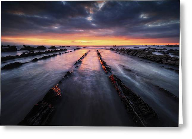 Pais Vasco Greeting Cards - Flysch Rocks In Barrika Beach At Sunset Greeting Card by Mikel Martinez de Osaba