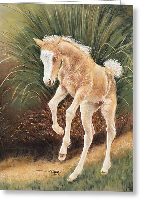 Equine Pastels Pastels Greeting Cards - Foaling Around Greeting Card by Tonya Butcher