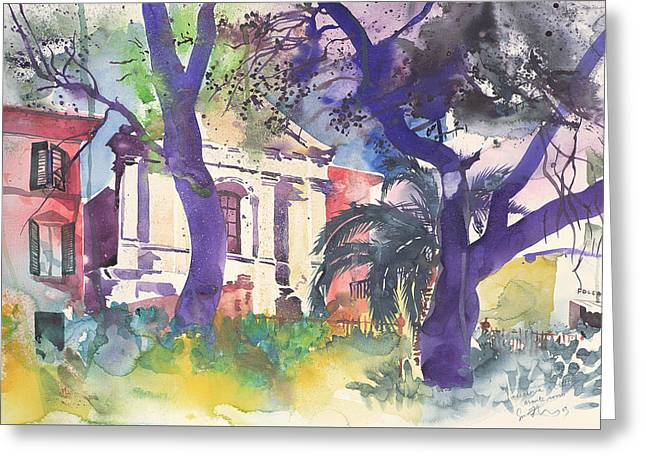 Colorful Trees Drawings Greeting Cards - Foccaceria e Chiesa Greeting Card by Simon Fletcher