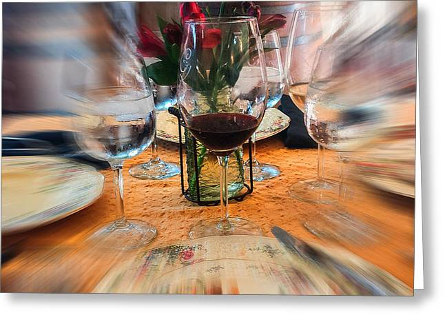 Table Wine Greeting Cards - Focus of Attention Greeting Card by Jennifer Kohler