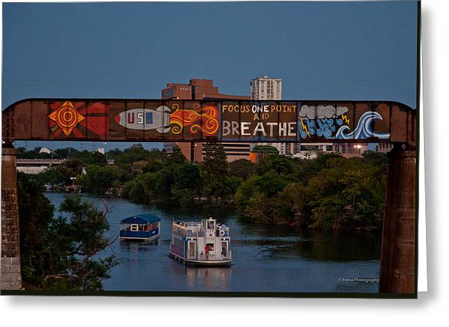 Train On Bridge Greeting Cards - Focus one point and Breathe Greeting Card by Sharon Vaughn Thompson
