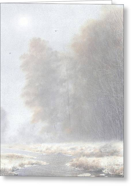 Fog And Frost Greeting Card by Ken Johnston