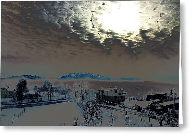 Sun Greeting Cards - Fog and sun after a snowfall Greeting Card by Samantha Mattiello