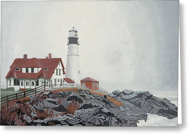 Maine Lighthouses Paintings Greeting Cards - Fog Approaching Portland Head Light Greeting Card by Dominic White