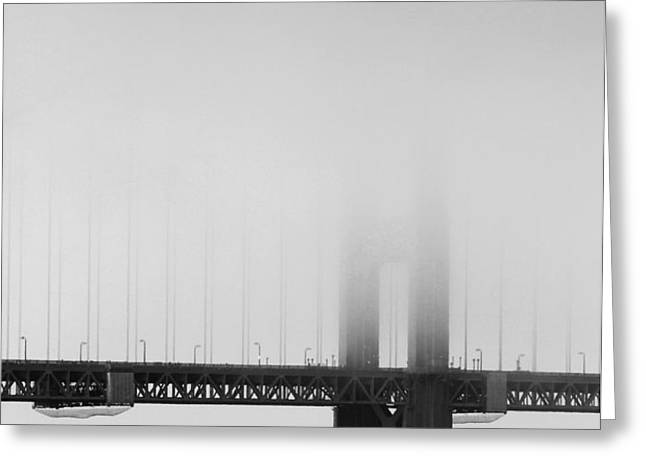 Fog at the Golden Gate Bridge 4 - Black and White Greeting Card by Wingsdomain Art and Photography