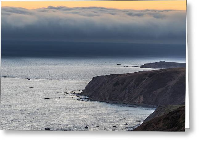 California Beaches Greeting Cards - Fog Bank at Sunset Greeting Card by Marc Crumpler