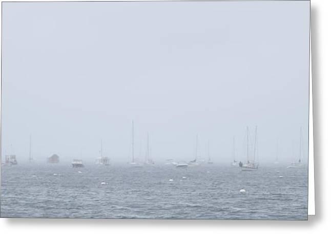 Foggy Ocean Greeting Cards - Fog Boats Greeting Card by Kim DeAngelo