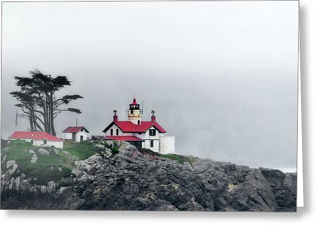 Fog comes rolling in - Battery Point Lighthouse - Crescent City CA Greeting Card by Christine Till