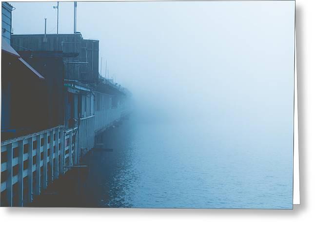 Foggy Ocean Greeting Cards - Fog Covered Pier Greeting Card by Dominik Lange