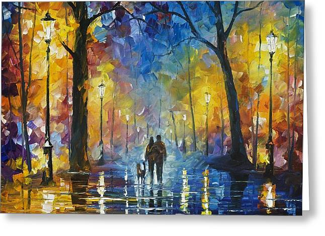 Popular Art Greeting Cards - Fog In The Park 3 - PALETTE KNIFE Oil Painting On Canvas By Leonid Afremov Greeting Card by Leonid Afremov