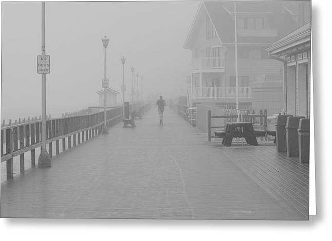 Jogging Greeting Cards - Fog Jogger Greeting Card by Paul Fabes