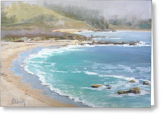 Foggy Ocean Paintings Greeting Cards - Fog on the Coast Greeting Card by Sharon Weaver
