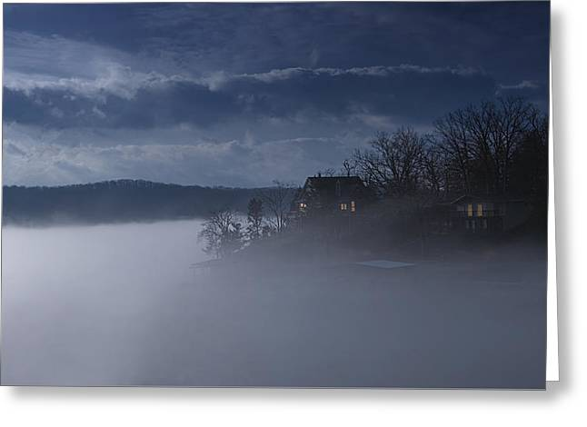 Fog On The Lake - Dawn At The Lake Of The Ozarks, Missouri Greeting Card by Mitch Spence