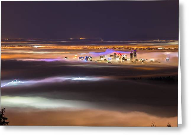 Lions Gate Bridge Digital Greeting Cards - Fog over Vancouver Greeting Card by Jason Do Carmo