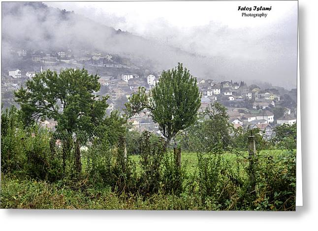 Manual Greeting Cards - Fog over village  Greeting Card by Fatos Islami