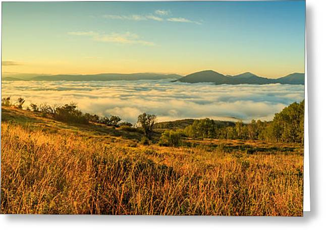 Mountain Valley Greeting Cards - Fog rising up the Wasatch Back. Greeting Card by Johnny Adolphson
