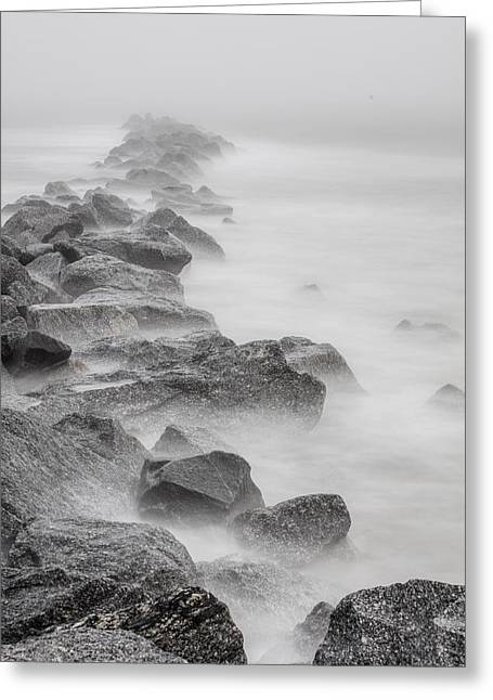 Foggy Atlantic Ocean Rocks  Greeting Card by John McGraw