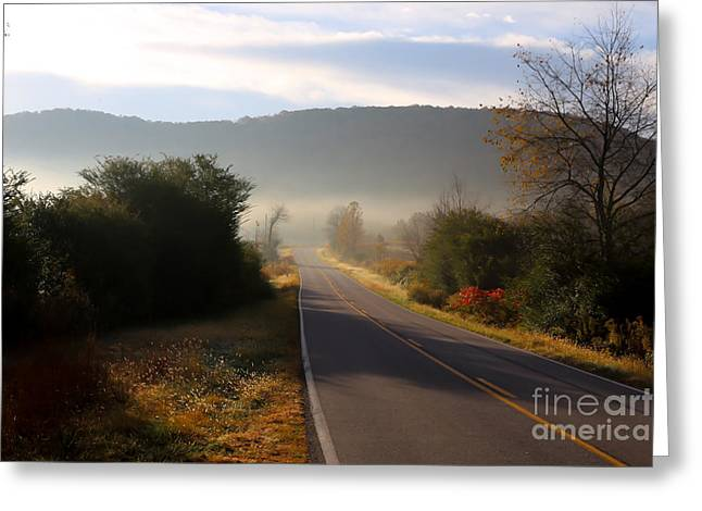 Roadway Greeting Cards - Foggy Autumn Road Greeting Card by Andy Miller