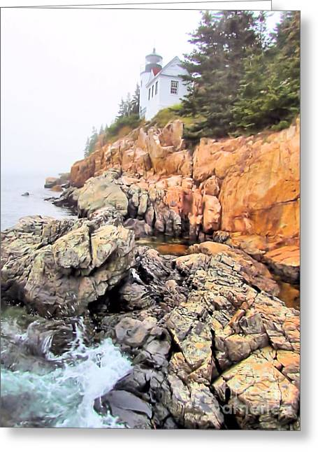 Maine Lighthouses Greeting Cards - Foggy Bass Harbor Lighthouse Greeting Card by Elizabeth Dow