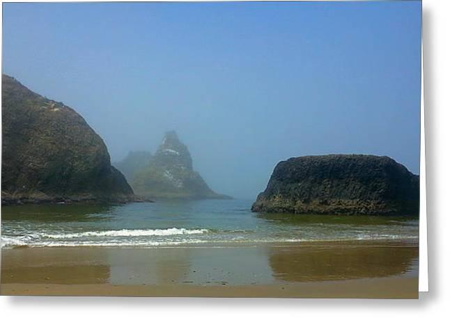 Foggy Beach Greeting Cards - Foggy Beach Afternoon Greeting Card by Steve Burch