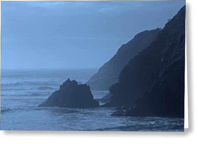 Foggy Ocean Greeting Cards - Foggy Blues - Oregon Coastline Greeting Card by Don Walls