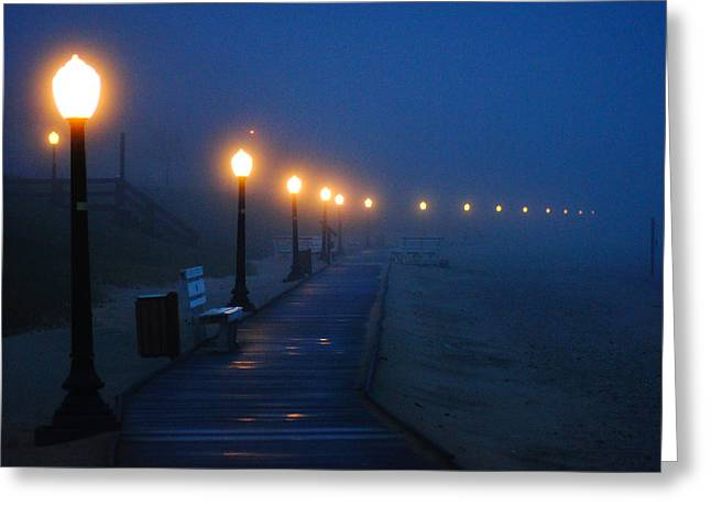 Best Sellers -  - Foggy Beach Greeting Cards - Foggy Boardwalk Blues Greeting Card by Bill Pevlor
