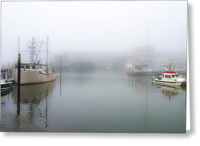 Foggy Beach Greeting Cards - Foggy Cape May Harbor Greeting Card by Bill Cannon