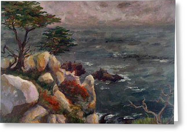 Foggy Ocean Paintings Greeting Cards - Foggy Carmel Greeting Card by Brenda Williams