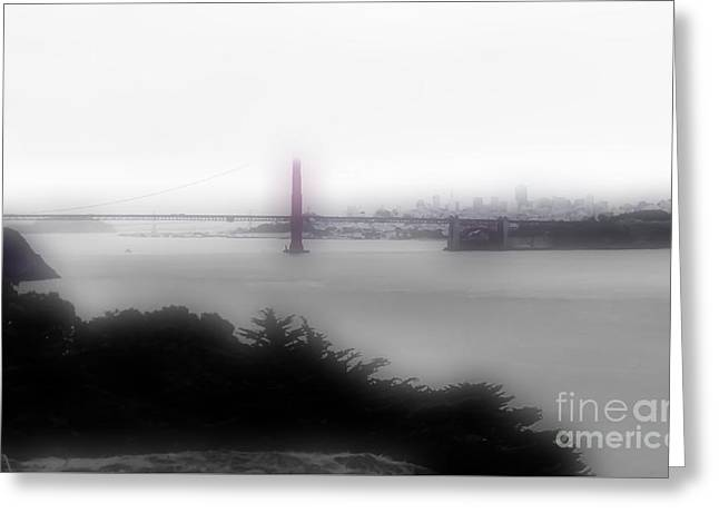 Buildings By The Ocean Greeting Cards - Foggy City View Greeting Card by Heather Joyce Morrill