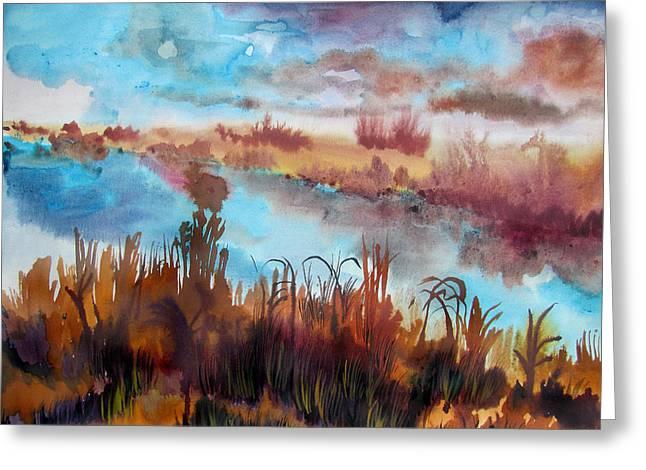 Rural Indiana Paintings Greeting Cards - Foggy Creek Greeting Card by James Huntley