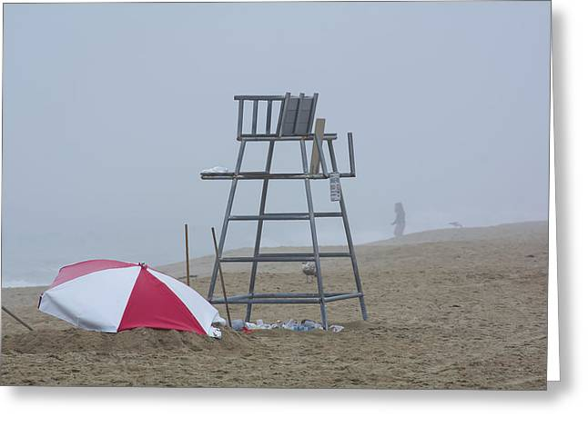 Empty Chairs Greeting Cards - Foggy Day At The Beach Greeting Card by Douglas Miller