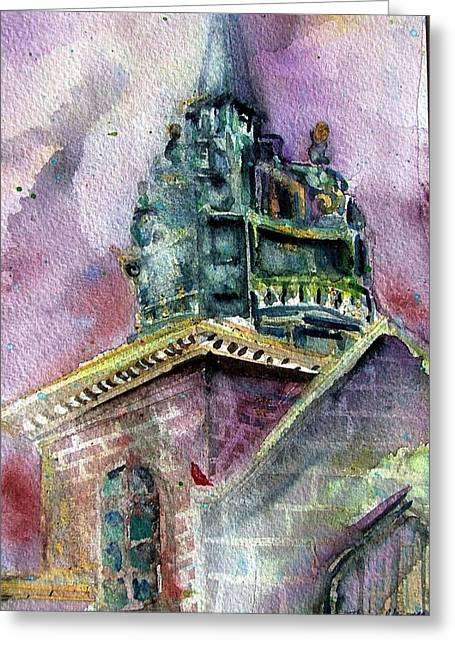 Fog Mist Drawings Greeting Cards - Foggy Day London Church Greeting Card by Mindy Newman