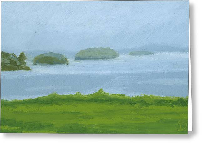 Maine Landscape Drawings Greeting Cards - Foggy Eastern Promenade Greeting Card by Dominic White