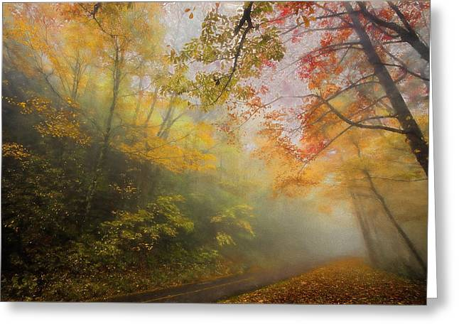 Fall Photos Paintings Greeting Cards - Foggy Fall Foliage II Greeting Card by Dan Carmichael