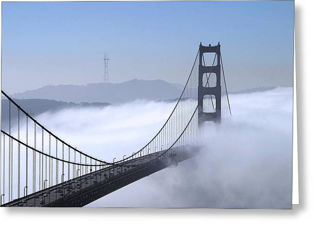 Chuck Kuhn Greeting Cards - Foggy Golden Gate Bridge Greeting Card by Chuck Kuhn